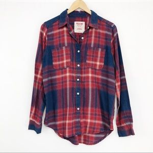 MOSSIMO Plaid Flannel Button Down Red Blue S